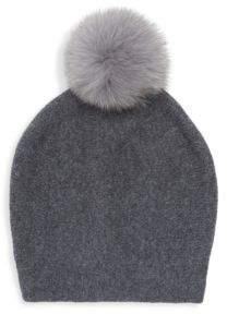 La Fiorentina Fur Pom-Pom Cashmere & Wool Hat