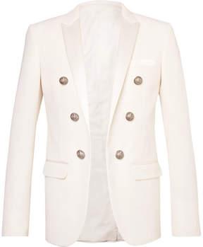 Balmain Slim-Fit Double-Breasted Satin-Trimmed Wool-Twill Blazer