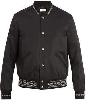 Saint Laurent Embroidered-trim bomber jacket