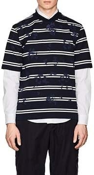 Sacai Men's Paint-Splatter Striped Cotton T-Shirt