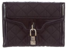 Burberry Quilted Compact Wallet - BLACK - STYLE