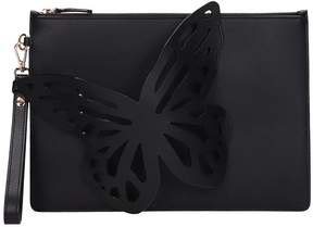 Sophia Webster Black Leather Flossy Butterfly Clutch Bag