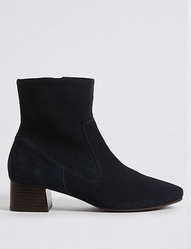 Marks and Spencer Suede Block Heel Almond Toe Ankle Boots