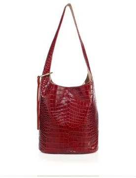Elizabeth and James Finley Croc-Embossed Leather Courier