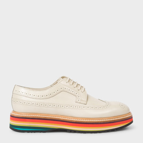 Paul Smith Women's Off-White Leather 'Grand' Brogues With 'Artist Stripe' Soles