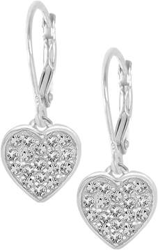 Swarovski Chanteur Jewelry 18K White Gold Plated Sterling Silver Pave Crystal Accented Heart Drop Earrings