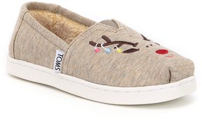 Toms Girls' Reindeer Embroidered Alpargata Slip-Ons