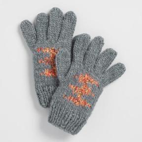 World Market Gray Multicolor Gloves with Pom Poms