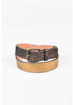 Louis Vuitton Pre-owned Metallic Gold Leather & Python Snakeskin Waist Belt.