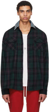 Fear Of God Green Oversized Denim Collared Plaid Shirt