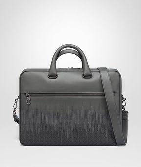 Bottega Veneta Light Grey Embroidered Nappa Leather Briefcase