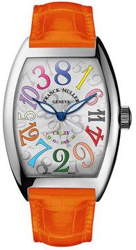 Franck Muller Cintree Curvex Crazy Hours Watch with Orange Alligator Strap