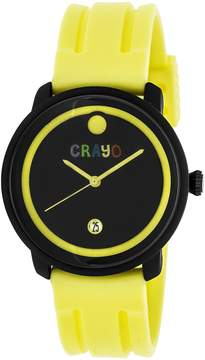 Crayo Fresh Black and Yellow Dial Yellow Rubber Unisex Watch