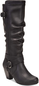 Rialto Crystal Wide-Calf Block-Heel Dress Boots Women's Shoes