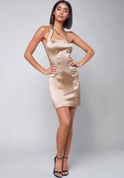 Bebe Tiana Button Halter Dress