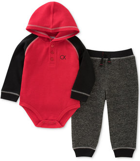 Calvin Klein 2-Pc. Thermal Hooded Bodysuit & Pants Set, Baby Boys (0-24 months)