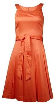 Calvin Klein Women's Belted Pleated Cotton-Blend Sundress