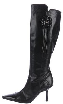 Chanel Camellia Pointed-Toe Knee-High Boots