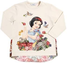 MonnaLisa Snow White Cotton Interlock & Satin Top