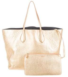 Rochas Metallic Leather Tote