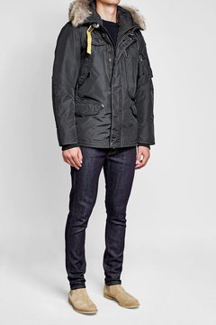 Parajumpers Down Jacket with Fur-Trimmed Hood and Detachable Lining