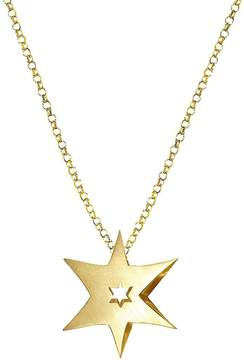 Alex Woo Women's 14K Yellow Gold and Diamond Star Pendant Necklace
