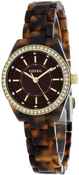 Fossil BQ1196 Women's Classic Tortoise Resin Watch with Crystal Accents