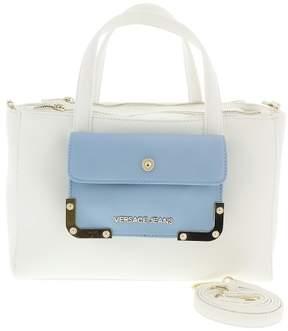 Versace EE1VRBBA6 White/ Powder Blue Tote Bag W/ detachable strap