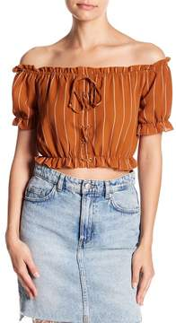 Dee Elly Ruffle Stripe Crop Top