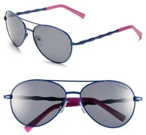 Lilly Pulitzer Women's 'Amelia' 57Mm Polarized Aviator Sunglasses - Navy/ Hibiscus Pink