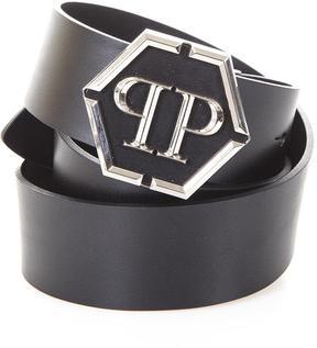 Philipp Plein Leather Belt Whit Logo