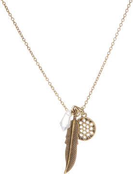 Carole Burnished Goldtone Feather Charm Pendant Necklace