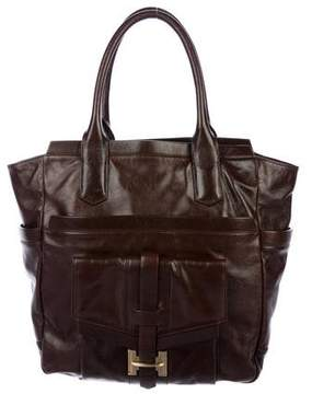 Halston Leather Pocket Tote