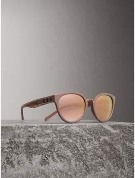 Burberry Check Detail Mirrored Cat-eye Frame Sunglasses