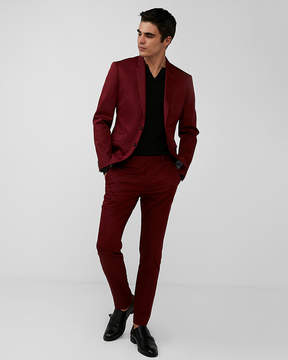 Express Extra Slim Red Cotton Sateen Suit Pant