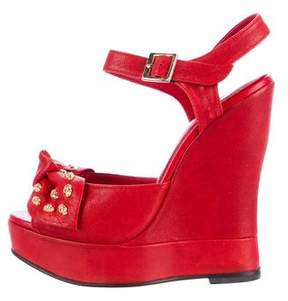 Thomas Wylde Twisted Leather Wedge Sandals