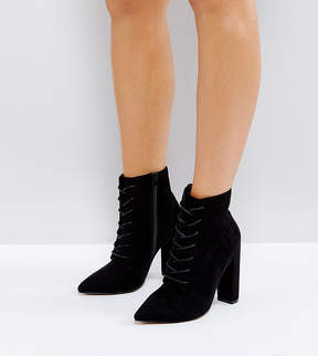 Asos ELECTRONIC Wide Fit Lace Up Heeled Ankle Boots