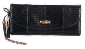 Gucci Snakeskin Bamboo Night Evening Bag - BLACK - STYLE