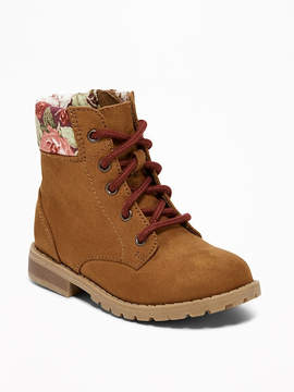 Old Navy Floral-Trim Sueded Boots for Toddler Girls