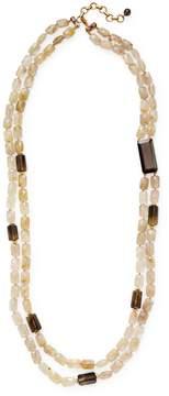 Bounkit Women's Double Quartz Faceted Station Necklace