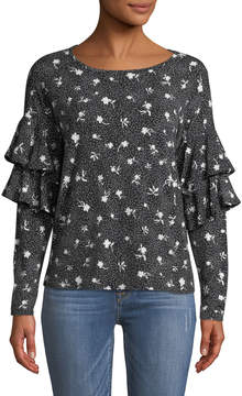 Cynthia Steffe Cece By Speckled Ruffle-Tiered Long-Sleeve Blouse