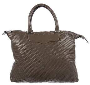 Rebecca Minkoff Bonnie Woven Leather Satchel - BROWN - STYLE