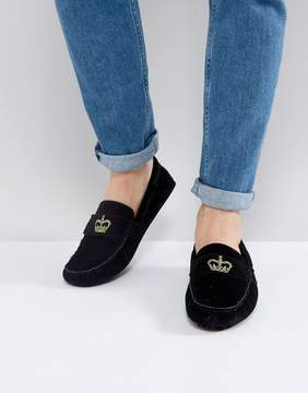 Asos Driving Shoes In Black With Crown Embroidery