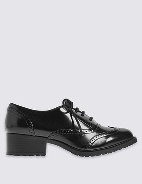 Marks and Spencer Wide Fit Block Heel Lace-up Brogue Shoes