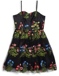 Un Deux Trois Girl's Floral and Mesh Dress