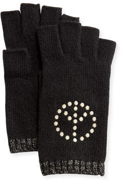 Portolano Cashmere Fingerless Gloves w/ Peace Sign Embroidery