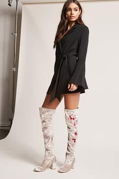Forever 21 Embroidered Velvet Thigh-High Boots