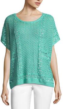 John Paul Richard JOHNPAULRICHARD Short Sleeve Crochet Knit Poncho
