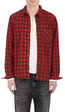 NSF Men's Distressed Plaid Cotton Flannel Shirt
