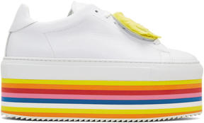 Joshua Sanders White Smile Rainbow Platform Sneakers